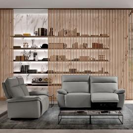 Salon Léonard en tissu avec relax électriques