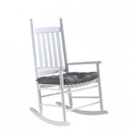 Chaise à bascule Matt en blanc avec coussin gris