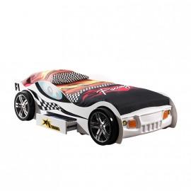 Lit enfant voiture Turbo blanc